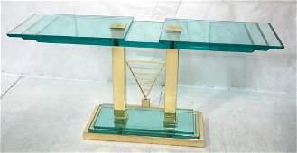 Contemporary Brass  Tiered Glass Sofa Console Ha