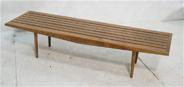 Long Slat Bench Coffee Table. Angled apron on ta