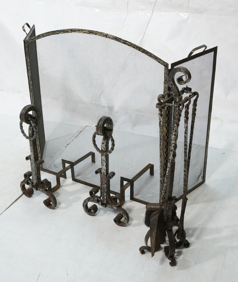Hammered Iron Arts & Crafts Fireplace Set. Fire s