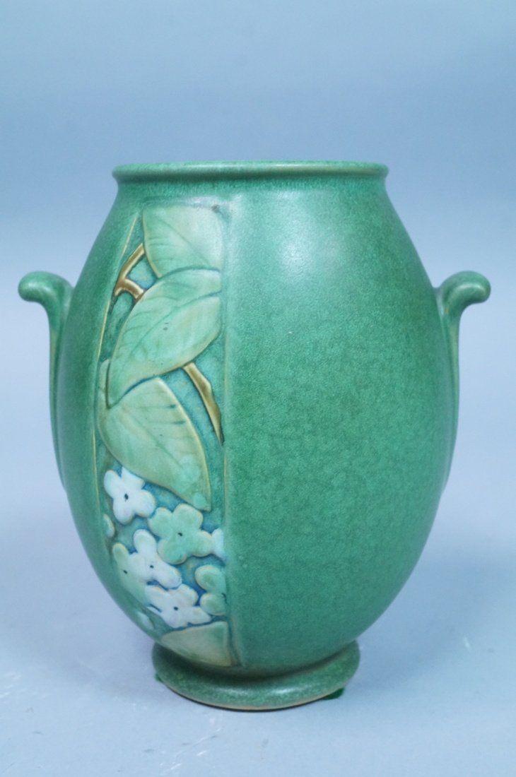 WELLER POTTERY Green Art Pottery Vase. Two Flip h