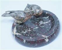 Austrian Bronze Birds on Marble Dish Vide Poche