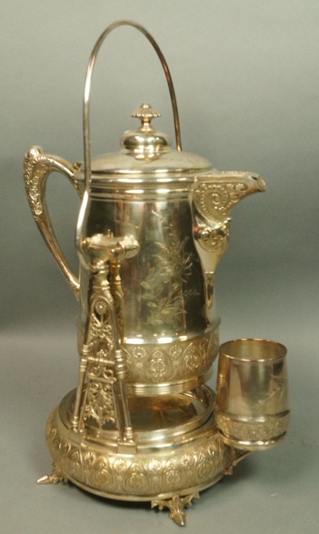 Victorian Silver Plate Tilting Water Pitcher. Vic