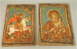 Two Russian Oil on Canvas Paintings 1). St George