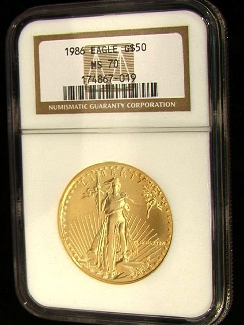 2079: 1986 $50 American Eagle Gold Coin NGC MS70   Dime