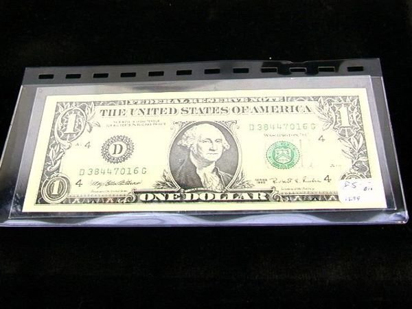 2120: 1995 Us Currency $1 Error Bill Note.  Misprinted.