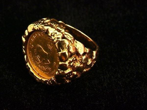 2146: 1984 1/10 Krugerrand Set in 14K Ring.   Dimension