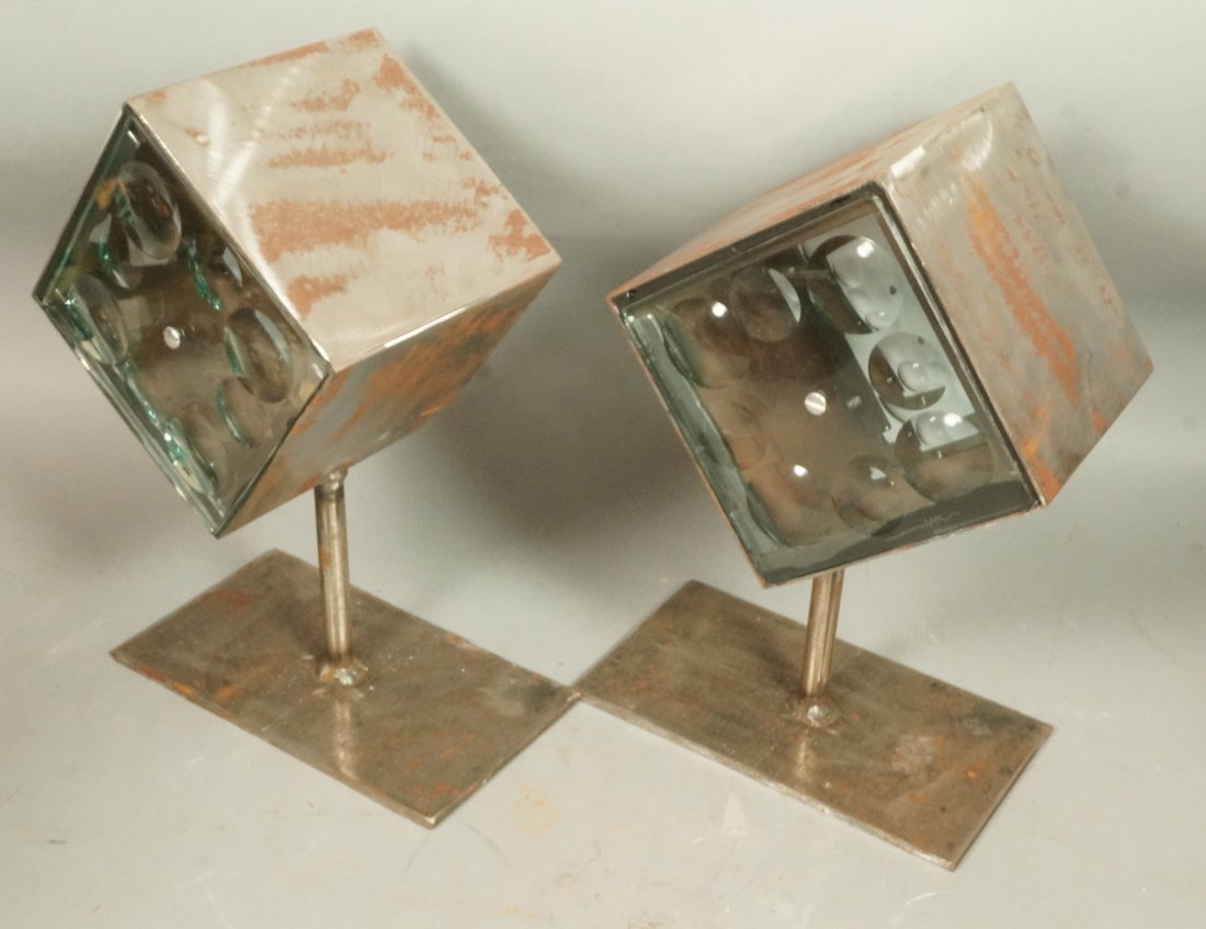 Set 2 Glass Magiscope Cube Table Sculptures. Indu