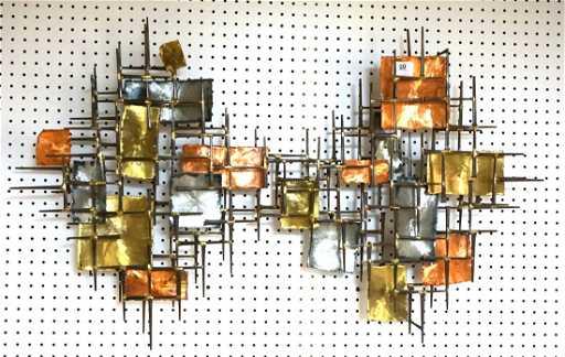 Brutalist Nail Wall Art. Mixed Metal Panels: copp