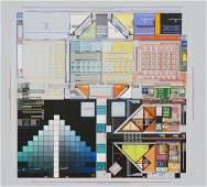 MARK WILSON 1975 Painting on Board. Intricate Geo