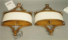 Pr Contemporary Gold Metal Wall Sconces Linen fa