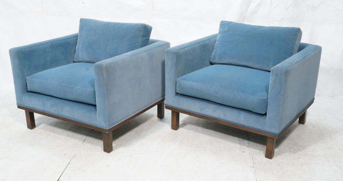 Pr Blue Fabric Cube Form Lounge Chairs. Dark Wood