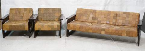 3pc Living Room Seating. Patchwork Leather Sofa &