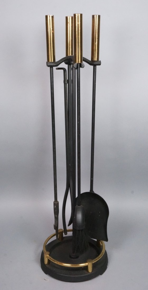 Black Iron & Brass Fireplace Tools. 5 piece set.