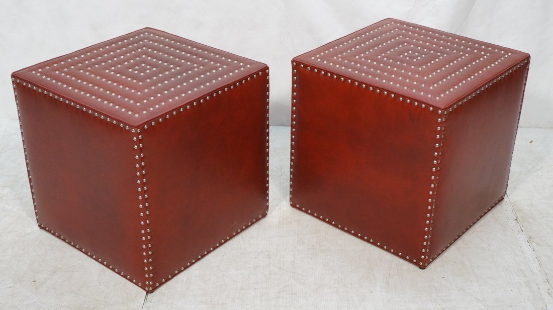 Pr LEE Red Leather Modernist Cube Side Tables. Si