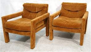 Pr Fully Upholstered Modernist Lounge Chairs. Bil