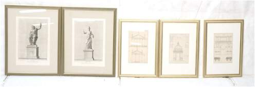 Lot 5 Antique Prints Engravings. Three are Archit