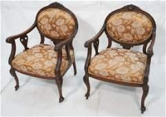 Pr Vintage Mahogany Arm Chairs. Carved Frames. Ur