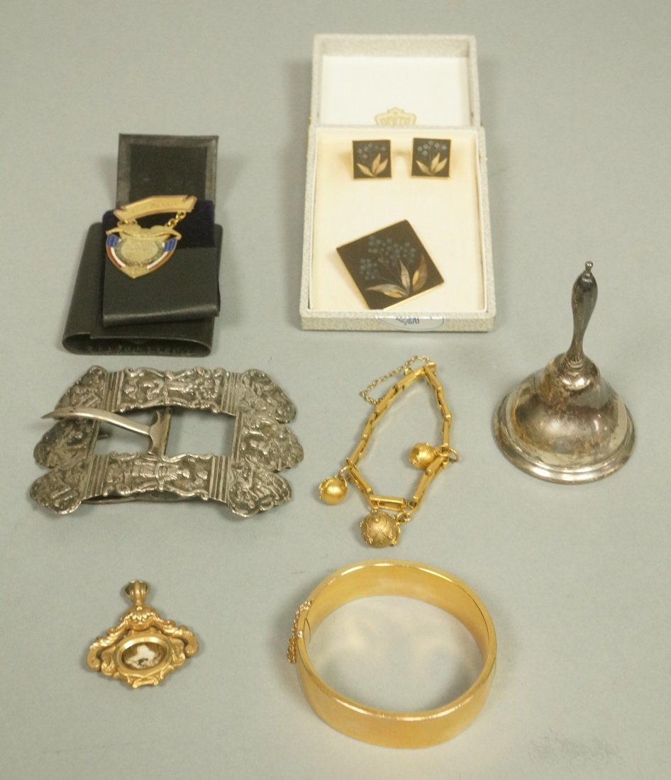 Lot 9pc Vintage Costume Jewelry. Includes silver