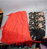 2 Silk Embroidered Piano Scarves 1 Soft Red Si