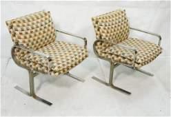 Pair Chrome Baughman Style Lounge Chairs. T base