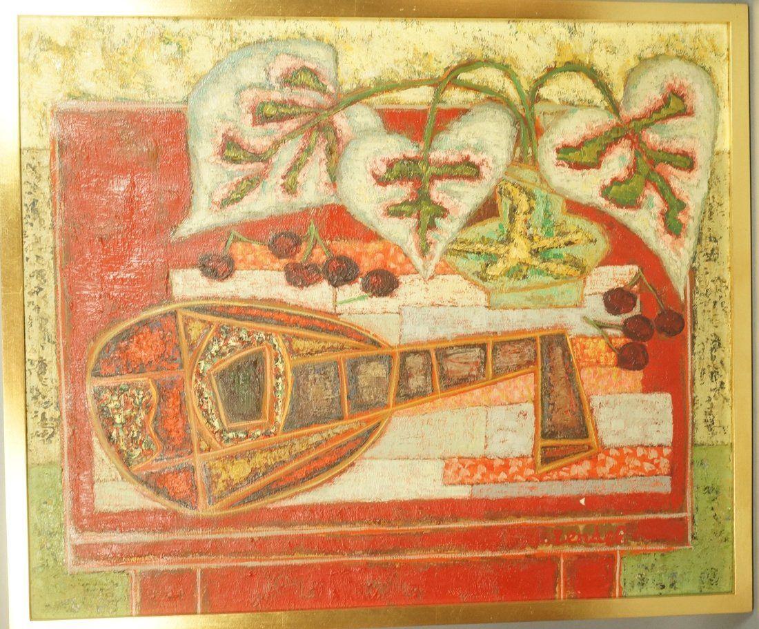 GABRIEL ZENDEL Oil on Canvas Painting. Mandolin.