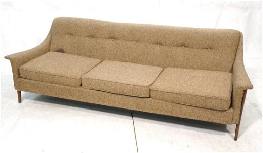 Modern Brown Tweed Sofa Couch Wood Peg Legs Uph