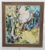 TRAN GORDLEY Oil Painting. Landscape Forest Scene
