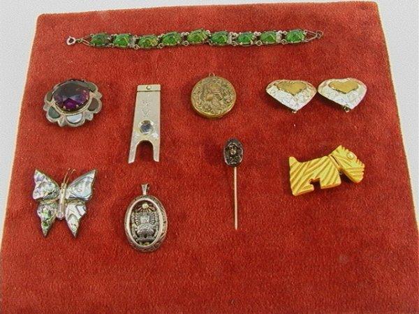 7: 9 pcs. Costume + Sterling Jewelry. Victorian, Bakeli