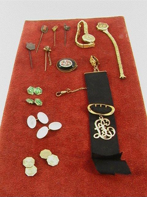 8: 12 pc Vintage VICTORIAN JEWELRY Cufflinks, Mosaic, W