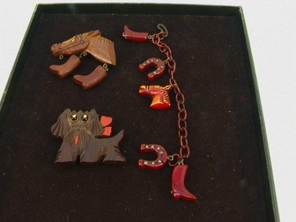 10: 3 pc Carved BAKELITE Bracelet Horse wood Head. VINT