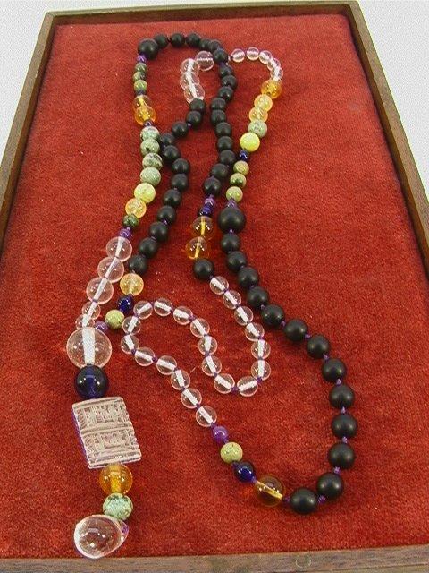 12: Stone + Rock Crystal Bead Palace Necklace. LONG Han