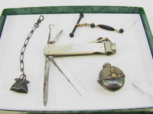 14: 4 pc VICTORIAN Jewelry. Silver Watch Fob, Perfume B
