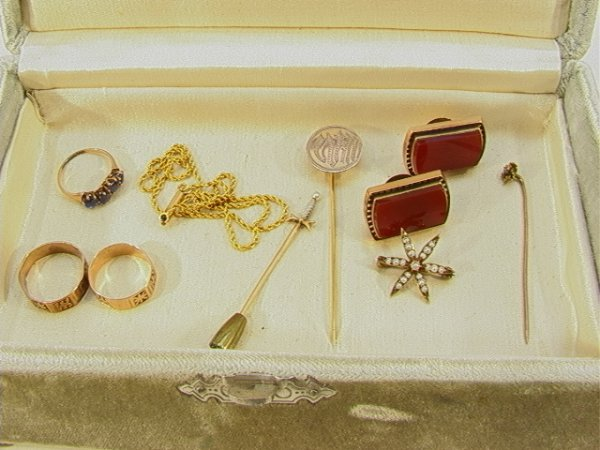 16: 9 pc VICTORIAN GOLD RING. Stickpin, Seed Pearl etc.