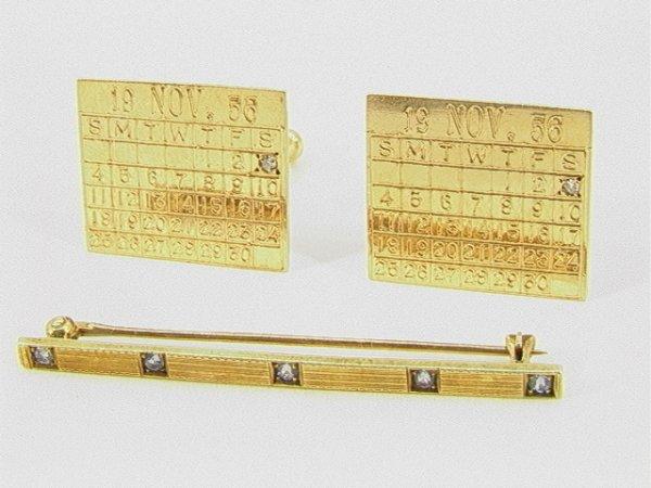 20: 2 pc 14K Gold Cufflinks, Bar pin. Nov 1956 Calendar