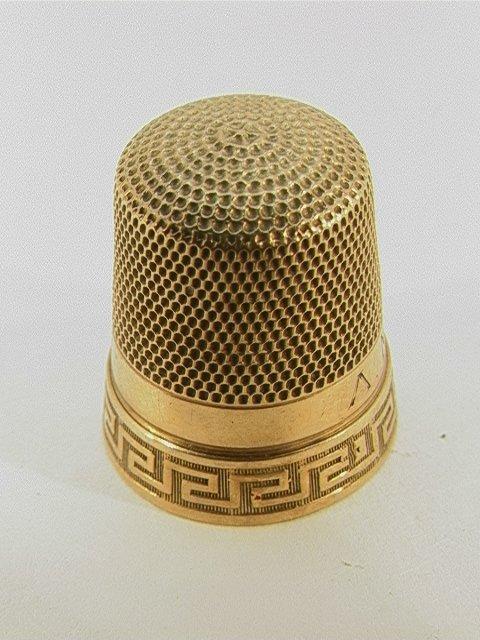 23: 10K Gold Thimble Size 11 Greek Key Design.   Dimens