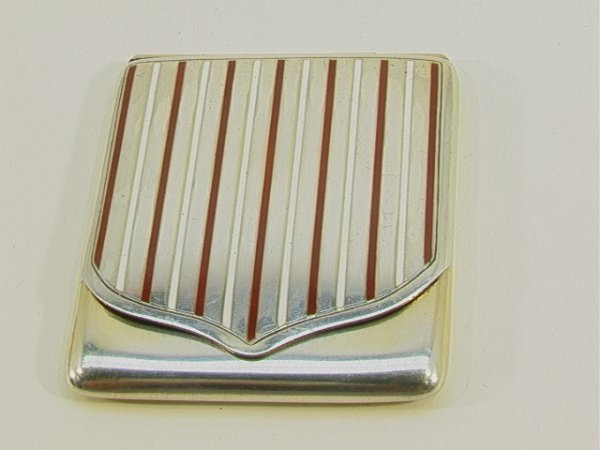 86: Art Deco FRENCH STERLING ENAMEL BOX COMPACT Hinged.
