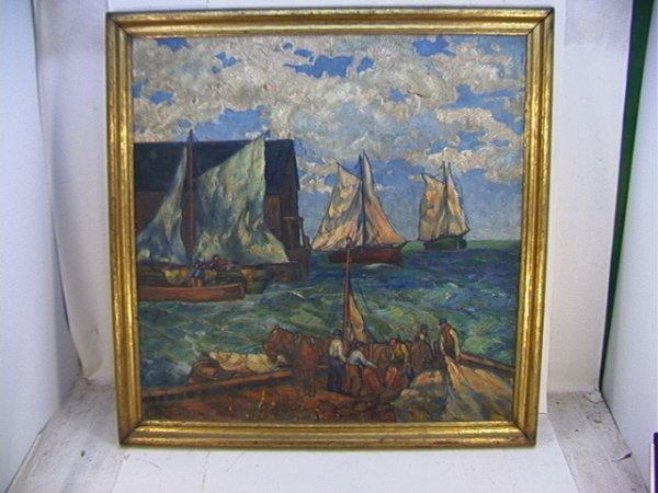 365: ILLUSTRATION Oil on Canvas Harbor Scene. Unsigned.