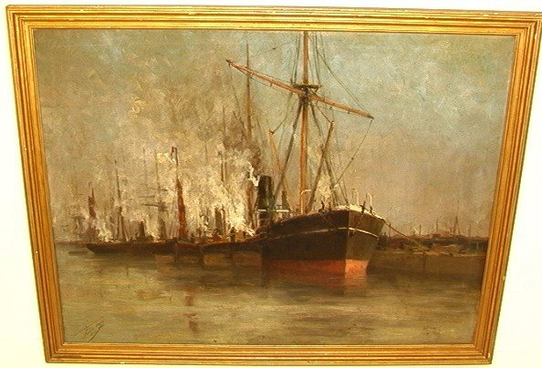 367: ROMAIN STEPPE Oil on Canvas Ships in Harbor dated