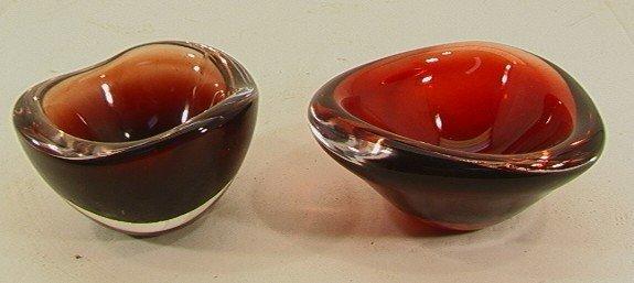 506: 2 pc ORREFORS Cased Art Glass Bowls. Freeform   Di