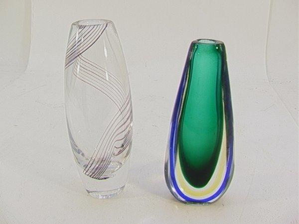 510: 2 pc ART GLASS: Kosta Swirl Design; Cased Glass De