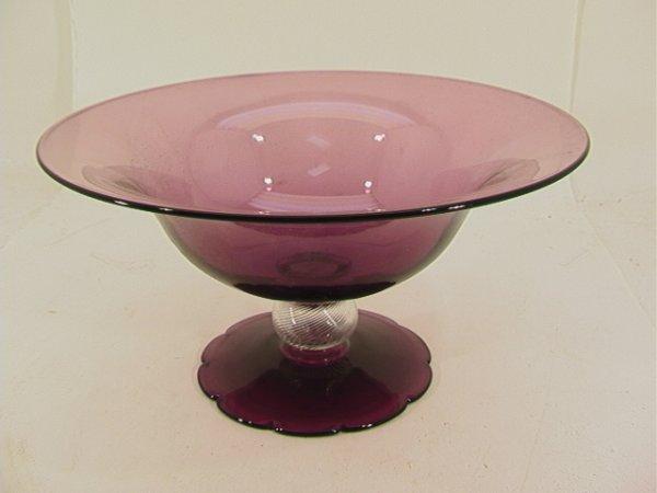 511: Art Glass Center Bowl Purple Clear Glass.  Ball St