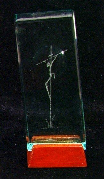 517: SALVADOR DALI Art Glass CRUCIFIX Sculpture. Signed