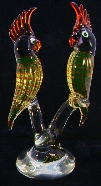 518: Large ART GLASS Sculpture PARROTS ITALIAN MURANO.