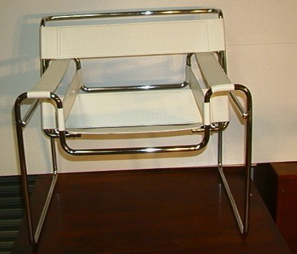 633: Marcel Breuer Wassily Chair.  White Leather.  Ital