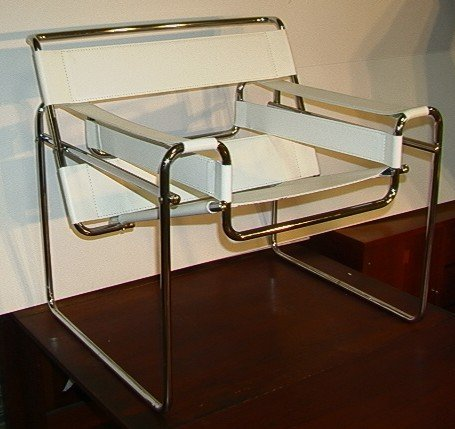 633: Marcel Breuer Wassily Chair.  White Leather.  Ital - 2