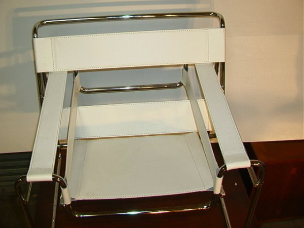 633: Marcel Breuer Wassily Chair.  White Leather.  Ital - 3