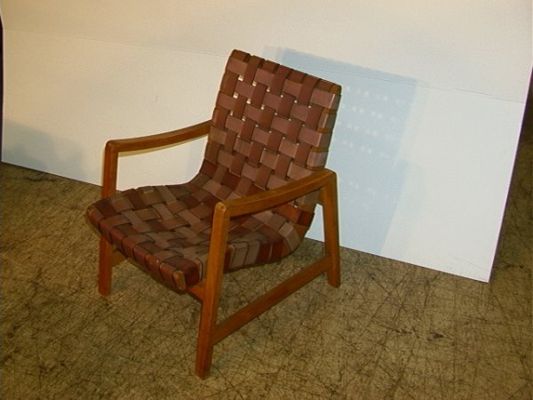early jens risom maple leather strap arm chair e