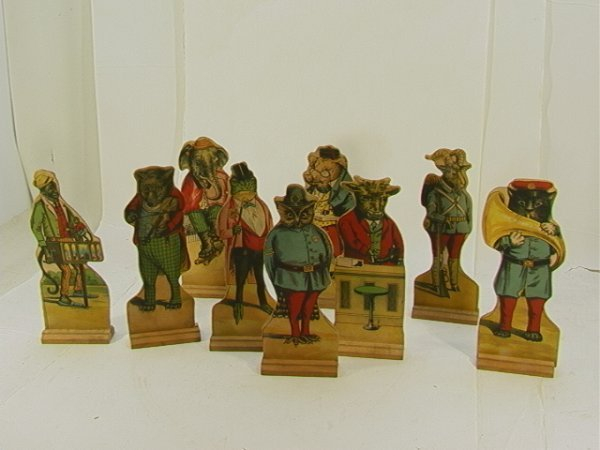 714: Animal litho 10 Pin figures vintage turn of the ce