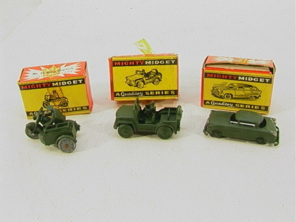 717: Benbros Mighty Midget 3 piece army lot MIB #41 Arm