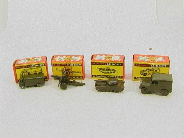 718: Benbros Mighty Midget 4 piece army lot MIB #30 Arm